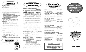 Kamloops Community Meal List 1