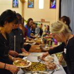 Volunteers having their fabulous dinner